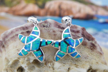 Starfish earrings made of sterling silver and blue opal.