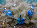 Starfish and seashell necklace made of sterling silver and blue opal.