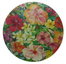 Trivet or hot mat with Caribbean Flowers design.