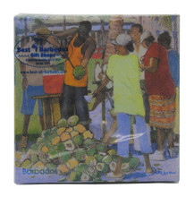 Beverage size paper napkin with a Coconut Vendors by Jill Walker.