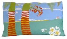 Hand screen printed Barbados Scene pillowcase.