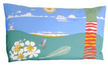 Hand screen printed Barbados Scene pillowcase.