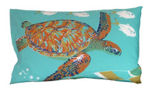 Hand screen printed turtle pillowcase.