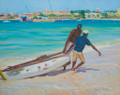 An oil painting of a scene in Carlisle Bay of men pulling a dinghy out of the water with Bridgetown in the background.