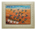 A framed tiles with hatchlings going to the sea at sunset by Sue Trew