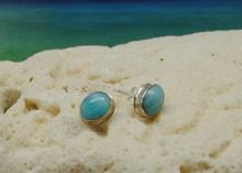 Larimar and silver stud earrings.