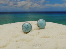Larimar and silver stud earrings
