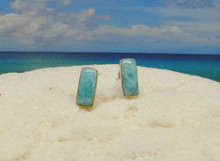 Larimar and silver rectangular earrings.