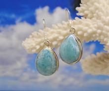 Larimar and silver tear drop earrings.