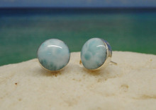 Larimar and silver round stud earrings.