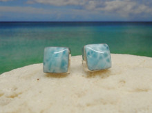 Larimar and silver square stud earrings.