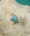 Larimar and silver turtle pendant.