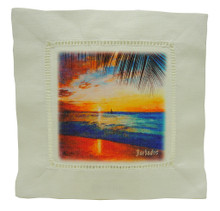 Linen cocktail napkin with sunset in Barbados