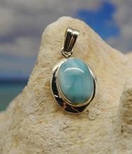 Larimar and silver pendant.