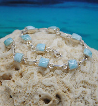 Larimar and silver bracelet.