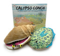 The Calypso Conch family with the book and the two main characters.