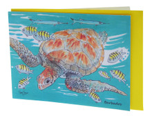 Swimming with turtles card.