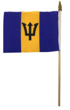 A small Barbados flag on a stick