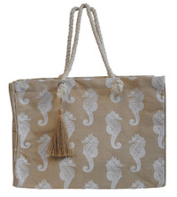 Natural jute bag with seahorses.