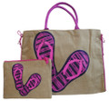 Colourful jute bag with matching clutch.