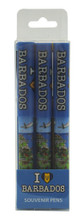 Set of 3 pens with a map of Barbados