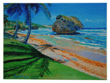 A tile with a painting of the east coast of Barbados by Sue Trew.