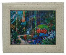 A framed tile with a painting of a Hunte's Gardens in Barbados by Sue Trew.