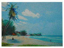 A tile painting of Accra Beach on the south coast of Barbados by Jill Walker.