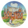 Small round dish with tending cabbages design.