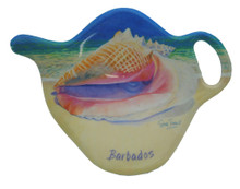Teabag holder with queen conch design.