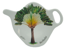 Teabag holder with palm design.