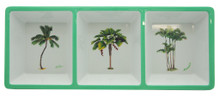 3 compartment tray with palms.