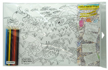 Set of 8 colouring placemats with the Turtle Tracks Family.