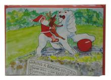 Santa and Rudolph visiting the lion at Gun Hill in Barbados!
