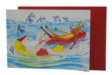 Santa and Rudolph having fun on lilos in Barbados!