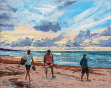 Fishermen in Barbados on their way home at sunset.