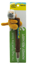 Hug the Barbados green monkey pen on card.