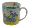 Bone china mug with turtle hatchlings.