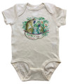 A soft, 100% cotton romper in natural with monkeys on the front.