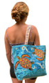 Canvas bag with turtles.