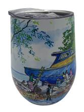 One side of the Barbados boat tumbler.