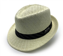 Fedora with black dotted band.