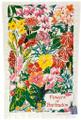 Hand screen printed Barbados flowers tea-towel.