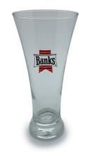 Slim Banks Beer logo glass.