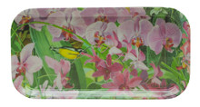 A long melamine tray with a Jill Walker painting of wonderful orchids.