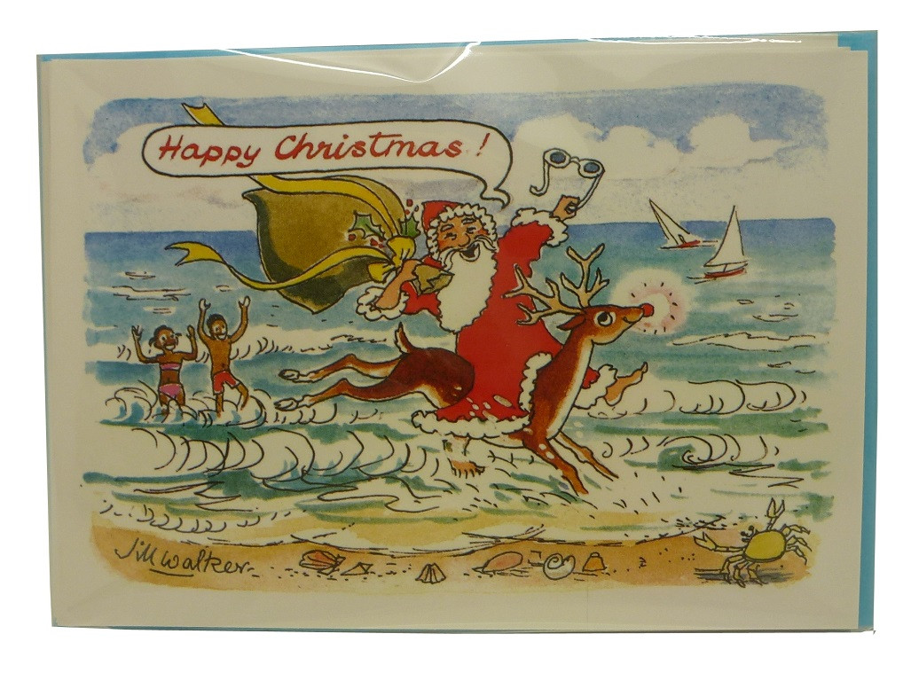 Christmas Card Artist.Christmas Card Santa Sea Pack Of 6 Best Of Barbados