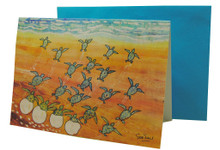 Hatchlings at sunset on a card design by Sue Trew.