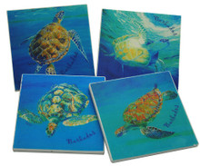 Stone coasters with turtles.