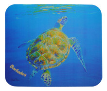 A souvenir mousepad of a turtle surfacing by Sue Trew