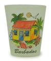 Barbados house design on a shot glass.